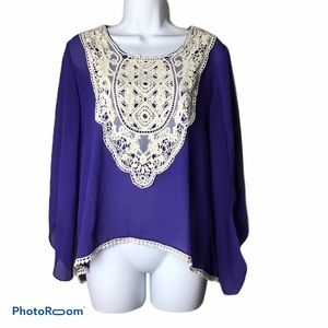Umgee Sheer Purple Top with Crochet Details
